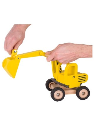 Машинка деревяна goki Екскаватор (жовтий) 55898G