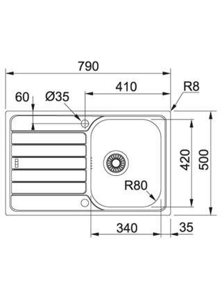 Кухонні мийки Franke Spark SKL 611-79/ 101.0598.809/ прямокутна/ накладна/ 790x500х160/нержавійка