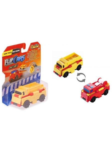 Машинка-трансформер Flip Cars 2 в 1 Самоскид і Пожежний автомобіль
