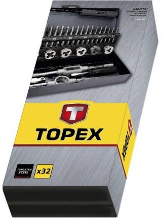 Плашки та мітчики TOPEX, M3 - M12, набір 32 шт.