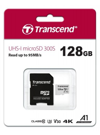 Карта пам'ятi Transcend 128GB microSDXC C10 UHS-I R95/W45MB/s + SD адаптер (TS128GUSD300S-A)