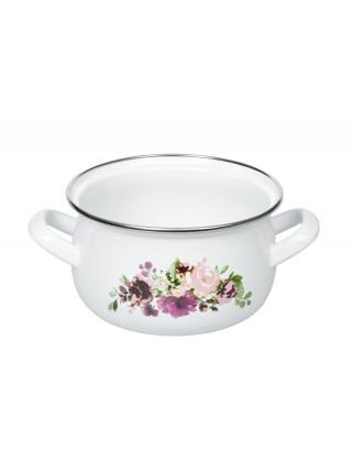 Каструля Ardesto Magic Flowers, скляна кришка, 2.0 л, біла, емальована (AR0120)