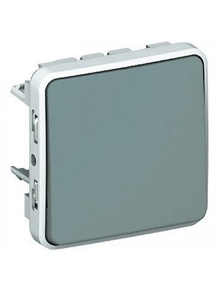 Plexo Legrand кнопковий вимикач Н.О. контакти, 10 A, сірий