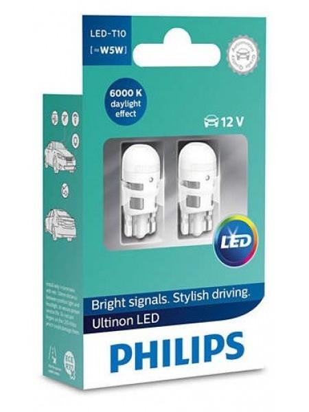 Лампа автомобільна світлодіодна Philips W5W Ultinon 6000K 12V, 2шт/блістер